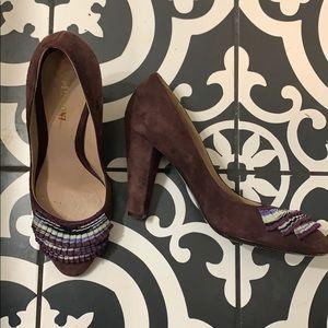 Missoni Purple Suede Ruffle Heel